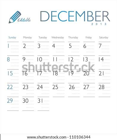 Vector calendar 2013 December - stock vector