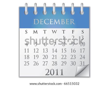 Vector Calendar December 2011 - stock vector