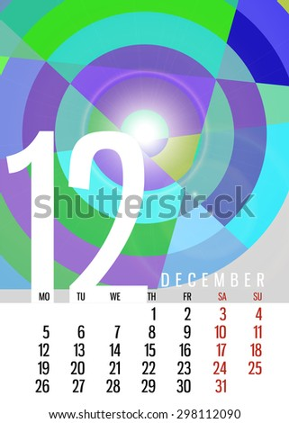 Vector calendar December 2016 vertical with square unique abstract composition