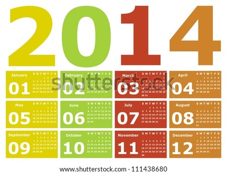 VECTOR - Calendar Design 2014 - stock vector