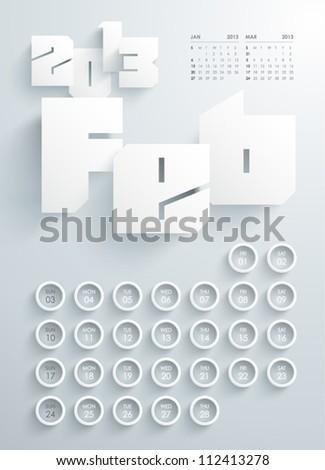 Vector 2013 Calendar Design - February - stock vector