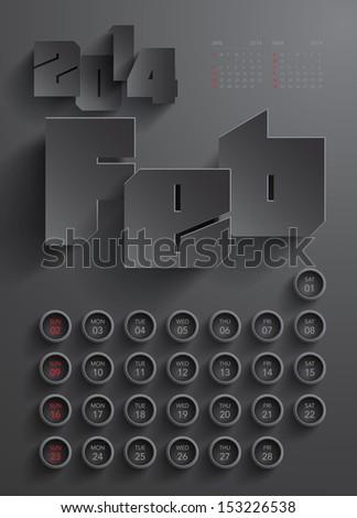 Vector 2014 Calendar Design - February - stock vector