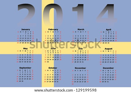 Vector Calendar Design for 2014 with the flag of Sweden in the background