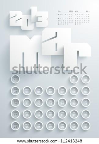 Vector 2013 Calendar Design - March - stock vector