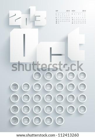 Vector 2013 Calendar Design - October - stock vector
