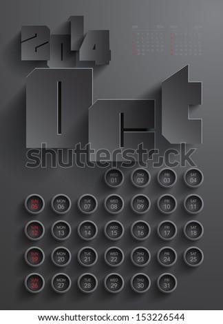Vector 2014 Calendar Design - October - stock vector