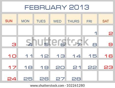 Vector calendar February 2013 - stock vector