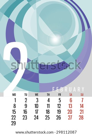 Vector calendar February, 2016 vertical with square unique abstract composition