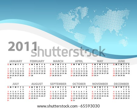 Vector calendar for 2011 - stock vector