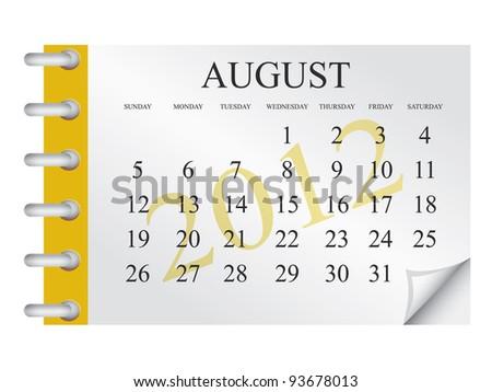 Vector Calendar for August 2012 - stock vector