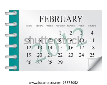 Vector calendar for February 2012 - stock vector