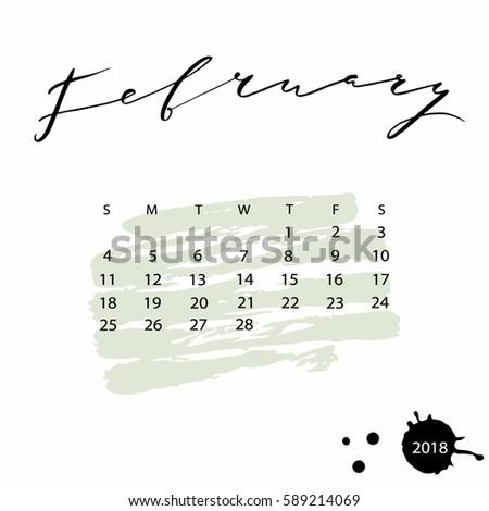 Vector Calendar February 2018 Hand Drawn Stock Vector 589214069 ...