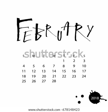 Vector Calendar February 2018 Hand Drawn Stock Vector 678148423 ...