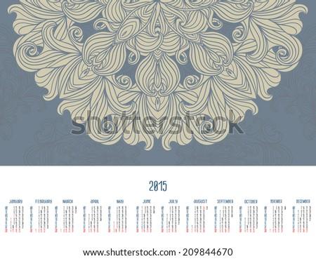 Vector Calendar 2015 Illustration Template Design Stock Vector