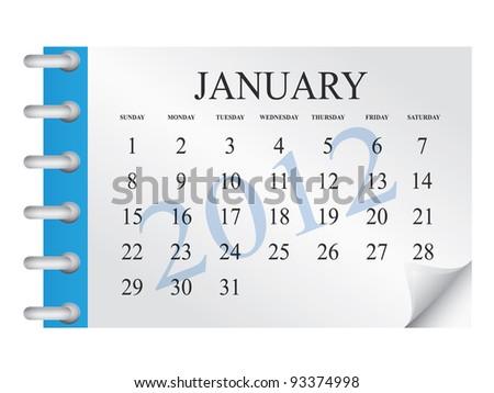 Vector calendar for January 2012 - stock vector