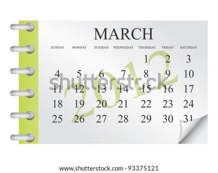 Vector calendar for March 2012 - stock vector