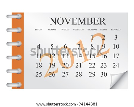 Vector calendar for November 2012 - stock vector