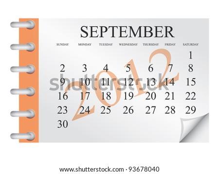 Vector Calendar for September 2012 - stock vector