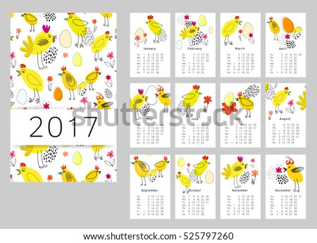 Vector calendar for 2017. Set of 12 months, rooster. Week Starts Sunday. Calendar for 2017 vector template with abstract art pattern cock.
