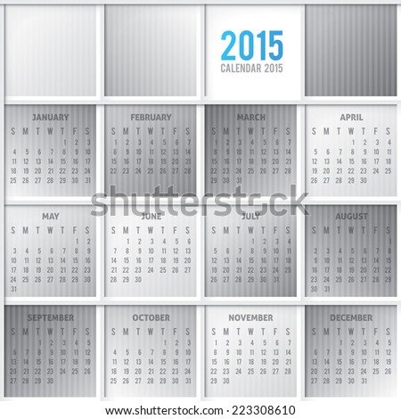 vector calendar grid 2015 year on abstract background