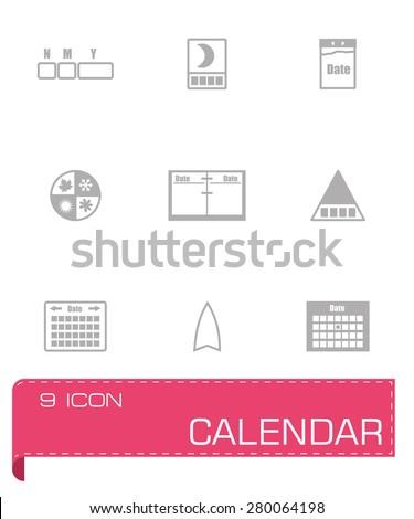 Vector Calendar icon set on grey background - stock vector