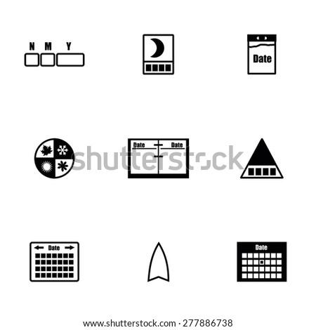 Vector Calendar icon set on white background - stock vector