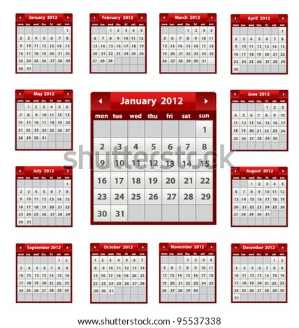 Vector calendar icons for 2012 in red color - stock vector