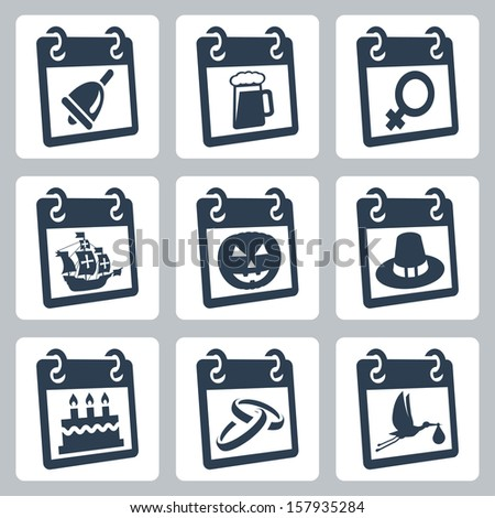 Vector calendar icons representing holidays: The Knowledge Day, Oktoberfest, International Woman's Day, Columbus Day, Halloween, Thanksgiving Day, birthday, wedding day, baby shower