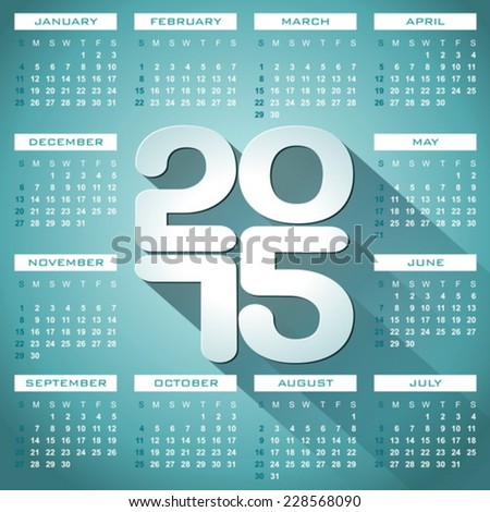 Vector Calendar 2015 illustration with long shadow on blue background. Eps 10 design. - stock vector