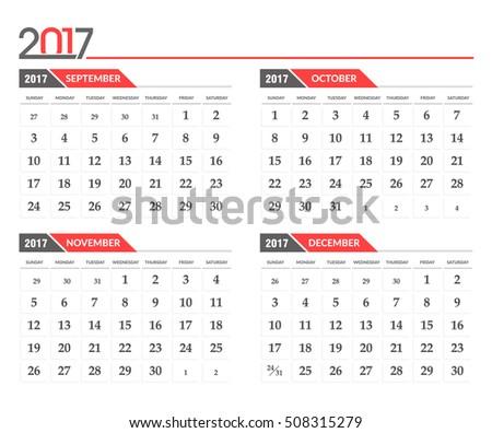 calendar november december 2017