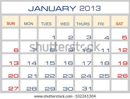Vector calendar January  2013 - stock vector