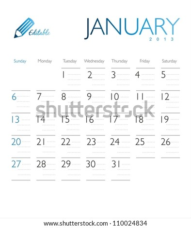Vector calendar 2013 January - stock vector
