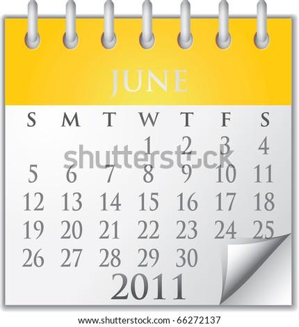 Vector Calendar June 2011 - stock vector