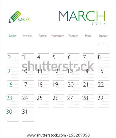 Vector calendar 2014 March - stock vector