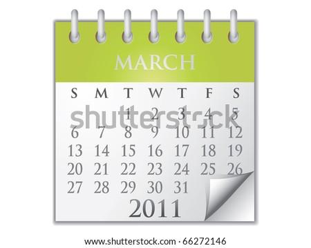 Vector Calendar March 2011 - stock vector