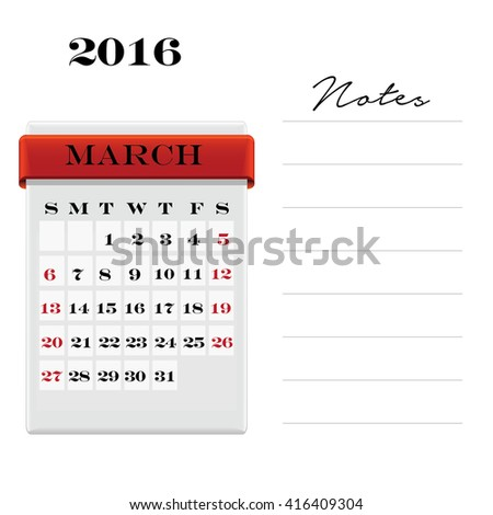 Vector calendar March 2016 with a place for notes. Weeks start on Sunday