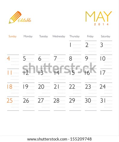 Vector calendar 2014 May - stock vector