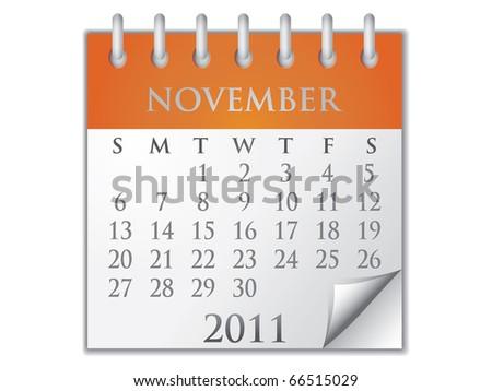 Vector Calendar November 2011 - stock vector
