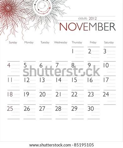 Vector calendar 2012 November - stock vector