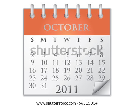 Vector Calendar October 2011 - stock vector