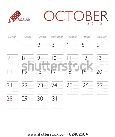 Vector calendar 2012 october - stock vector