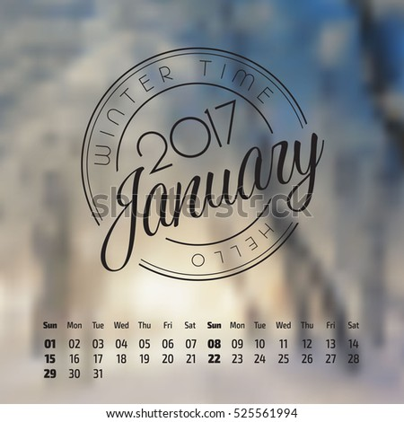 Vector calendar on abstract nature background. January 2017. vol 2.