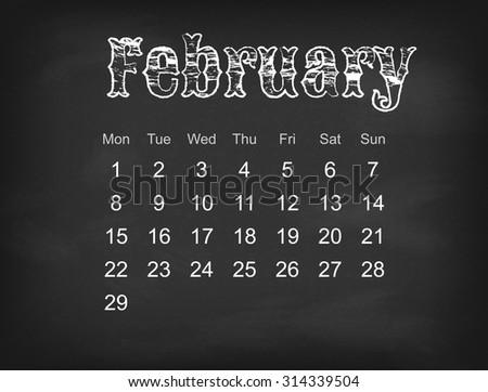 Vector 2016 calendar on black chalk board | Europe calendar grid weeks starts on Monday  - stock vector