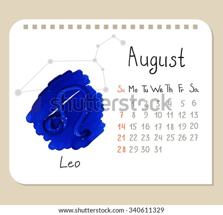 Vector Calendar Page Template August Leo Stock Vector HD Royalty - Unique calander templates scheme