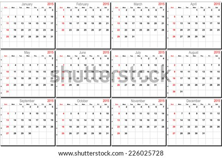 Vector calendar planner schedule 2015 week starts with sunday - stock vector