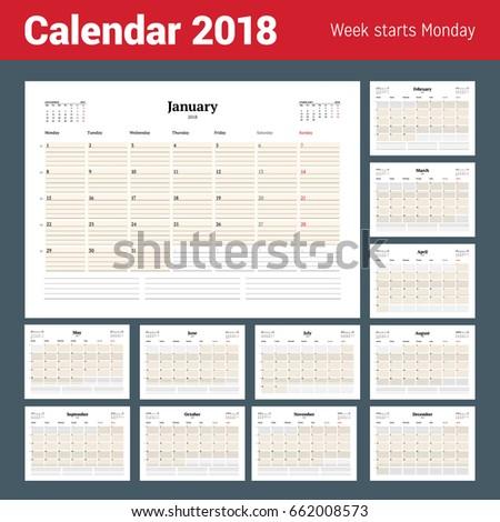 Vector Calendar Planner Template 2018 Year Stock Vector 662008573