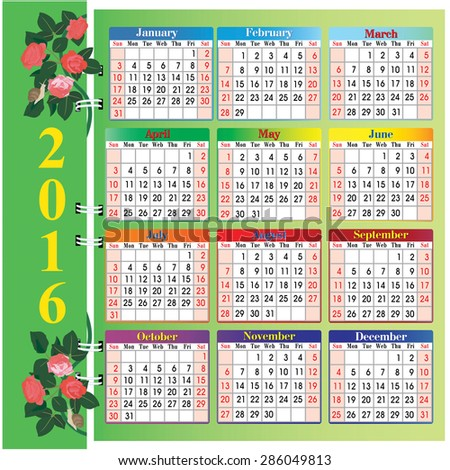Vector calendar 2016. Roses and snails