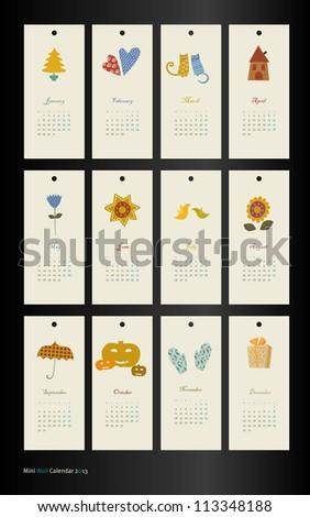 vector calendar 2013 season - stock vector