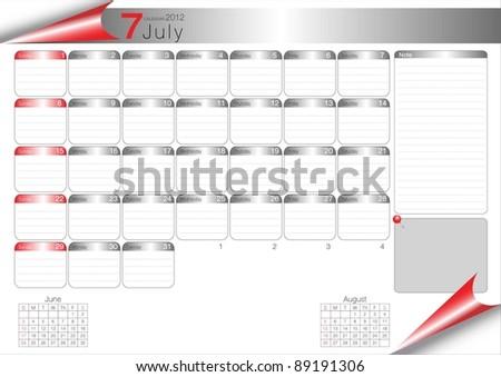 Vector Calendar Table 2012 July - stock vector