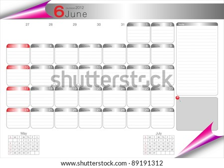 Vector Calendar Table 2012 June - stock vector